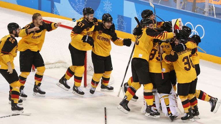 Germany celebrate reaching the men's final