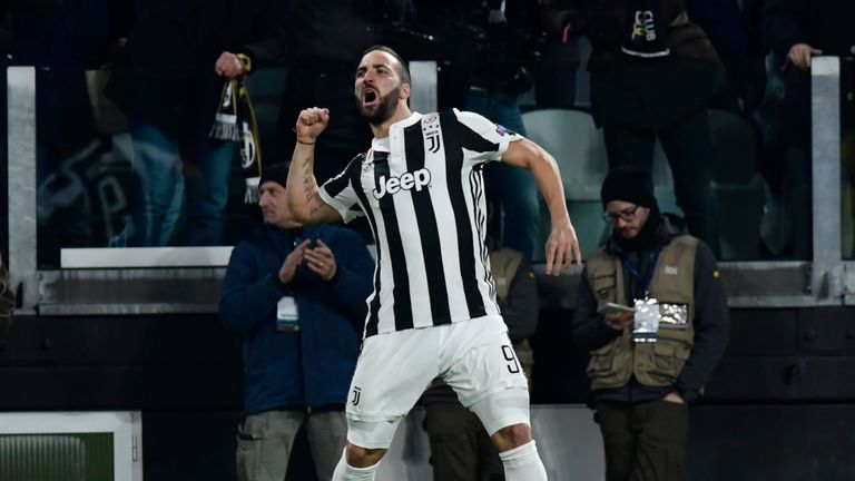Gonzalo Higuain celebrates after scoring his second