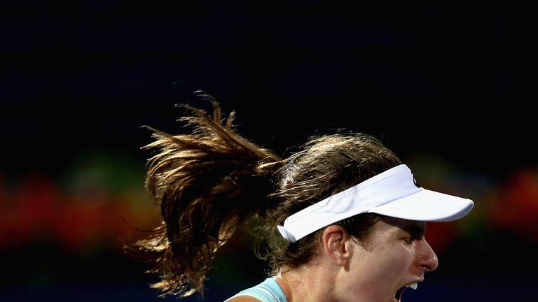 Johanna Konta celebrates during her win over Anastasia Pavlyuchenkova