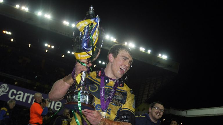 Kevin Sinfield celebrating their 2008 win - Friday's encounter will be Leeds' first World Club Challenge outside the UK