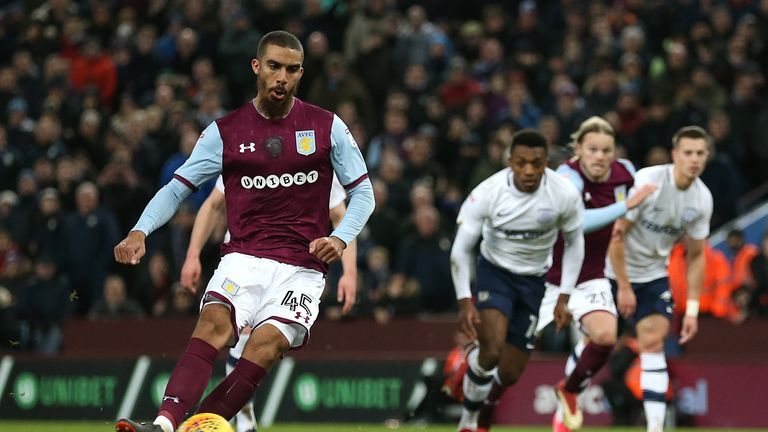 Lewis Grabban scores for Villa from the penalty spot against Preston