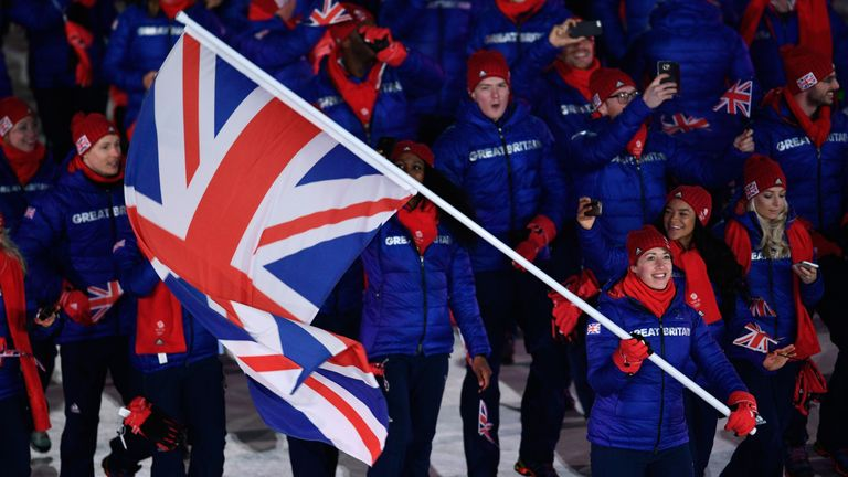 Lizzy Yarnold carried the GB flag at the opening ceremony