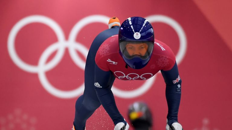 Lizzy Yarnold starts her women's skeleton training session at the Olympic Sliding Centre