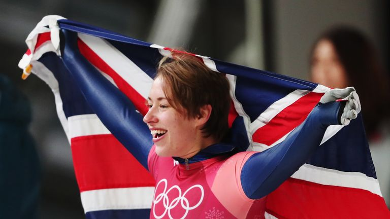 PYEONGCHANG-GUN, SOUTH KOREA - FEBRUARY 17:  Lizzy Yarnold of Great Britain celebrates as she wins gold during the Women's Skeleton on day eight of the Pye