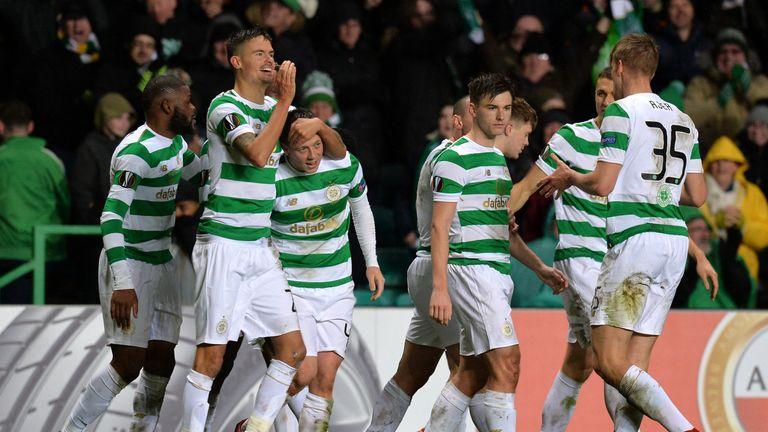 Callum McGregor celebrates his winning goal against Zenit