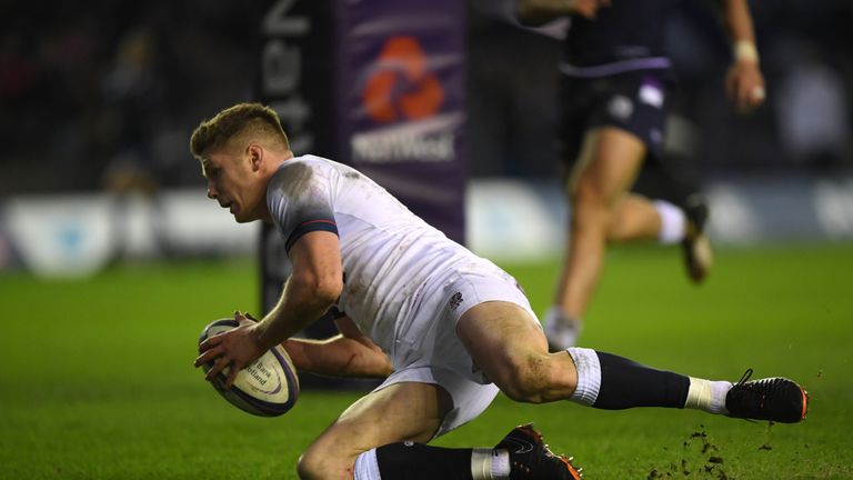 Farrell scored England's only try in Scotland defeat