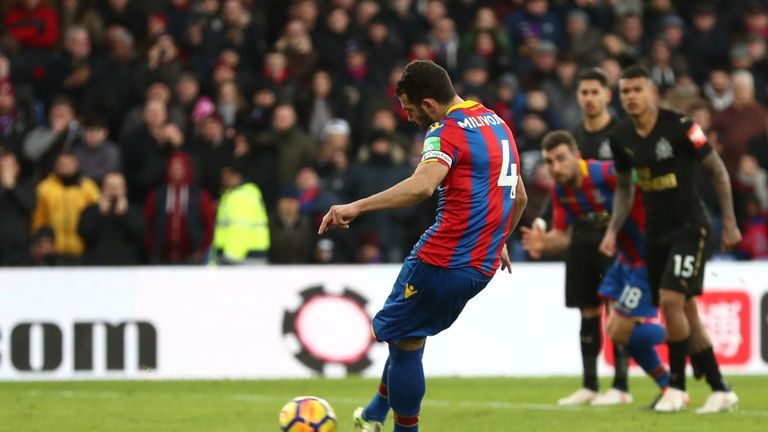 Milivojevic takes the penalty that earned Crystal Palace a draw on Sunday