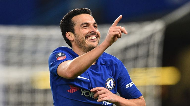 Chelsea's Spanish midfielder Pedro salutes his goal against the Tigers