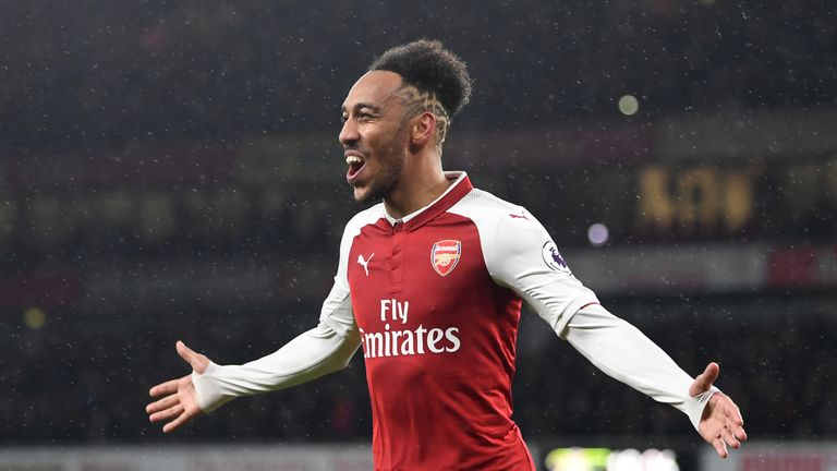 e33809164 Pierre-Emerick Aubameyang celebrates after scoring on his debut for Arsenal