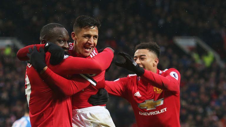 Romelu Lukaku celebrates his goal with team-mates Alexis Sanchez and Jesse Lingard