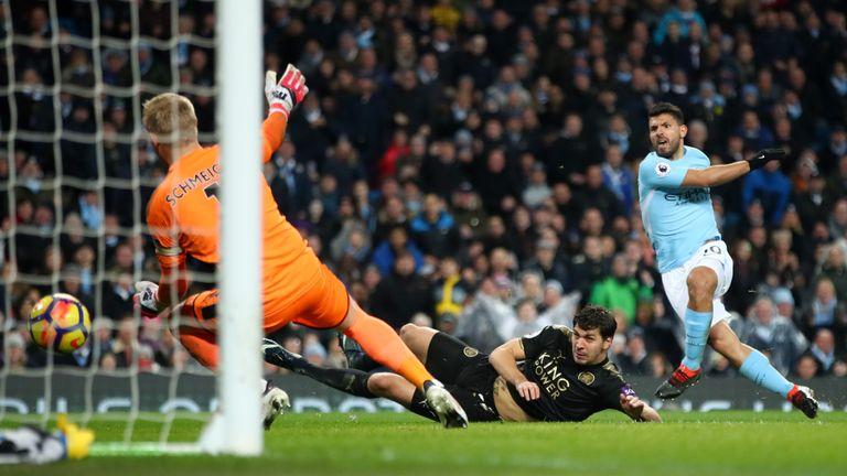 Sergio Aguero scores Manchester City's third goal