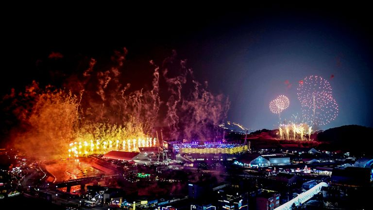 Fireworks go off during the opening ceremony of the Pyeongchang 2018 Winter Olympic Games