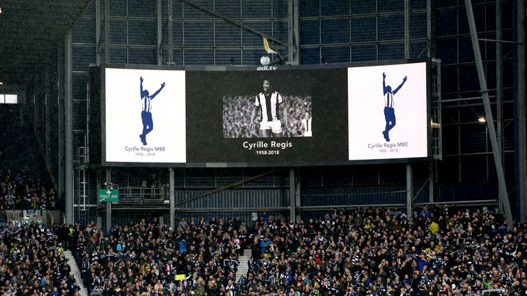 Fans paid tribute to Cyrille Regis ahead of the match at The Hawthorns