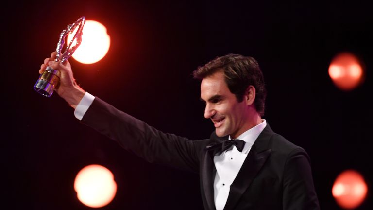 Roger Federer accepts the Laureus World Comeback of the Year during the 2018 Laureus World Sports Awards