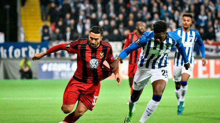Saman Ghoddos in action against Hertha Berlin