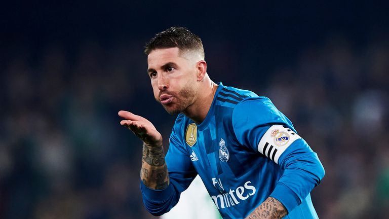 Sergio Ramos of Real Madrid celebrates after his header early in the second half