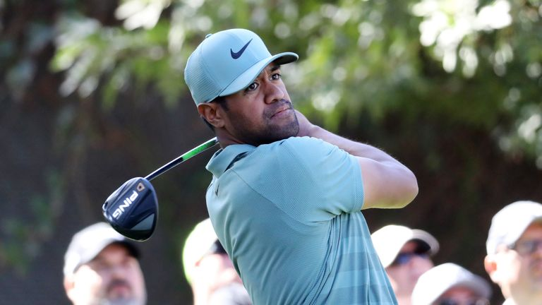 Tony Finau currently leads the PGA Tour in driving distance, averaging 323 yards from the tee