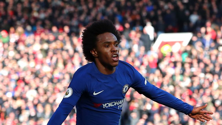 Willian wheels away after firing Chelsea into the lead at Old Trafford