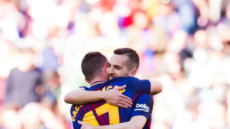 Paco Alcacer and Jordi Alba celebrate Barcelona's opening goal