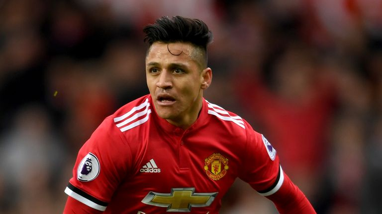 Alexis Sanchez in action during the Premier League match between Manchester United and Swansea City at Old Trafford on March 31, 2018