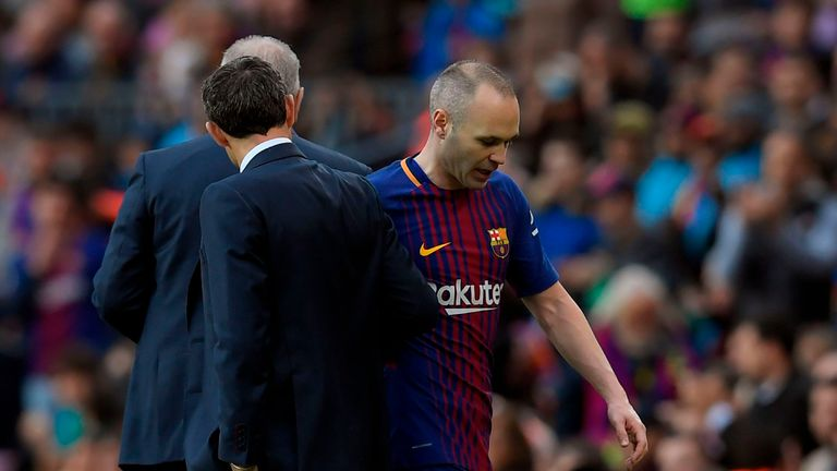 Andres Iniesta is an injury doubt for Barcelona ahead of Wednesday's game