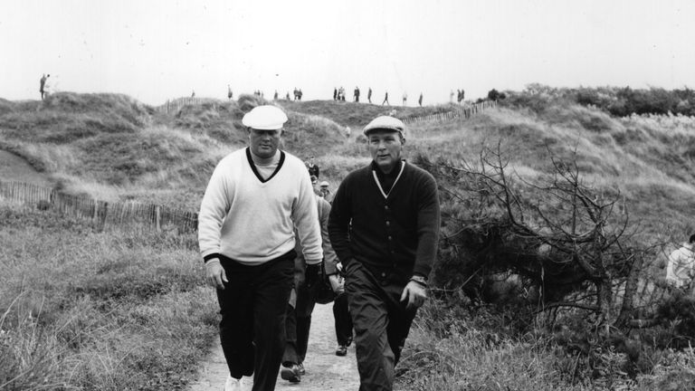 Palmer (R) won seven major titles, including four at The Masters