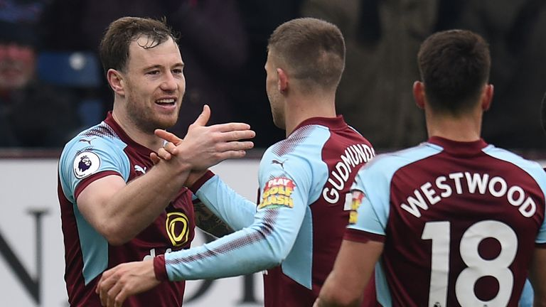 Ashley Barnes celebrates his equaliser with teammates during the Premier League match between Burnley and Everton
