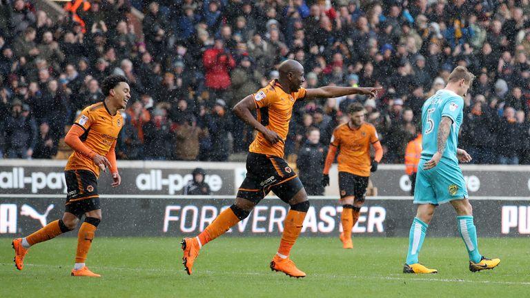 Benik Afobe celebrates his goal against Burton