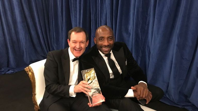 Adam Smith and Johnny Nelson celebrate the RTS award for best sports programme