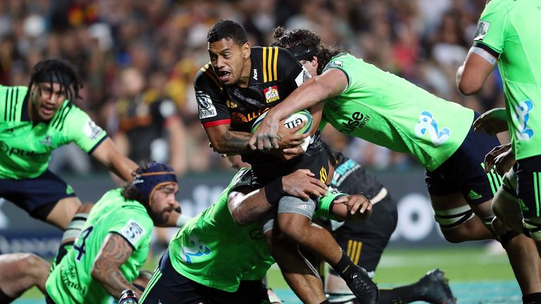 Chiefs' Te Toiroa Tahuriorangi against the Highlanders in  Round Seven