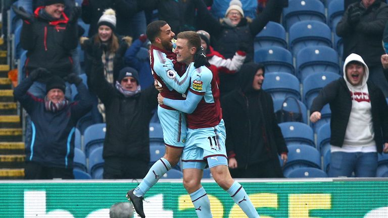 Chris Wood (right) celebrates with Aaron Lennon after scoring Burnley's winner against Everton