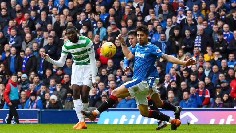 Edouard scores Celtic's third goal against Rangers at Ibrox to seal the points