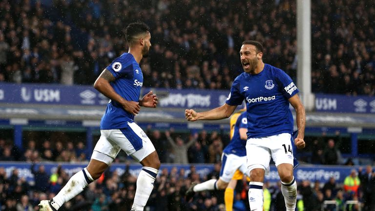 Tosun (right) scored his first Goodison Park goal against Brighton