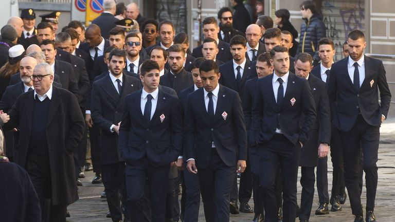 Fiorentina players attended Astori's funeral
