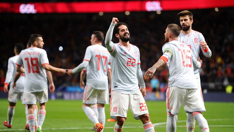 Isco scored a hat-trick for Spain on Tuesday evening