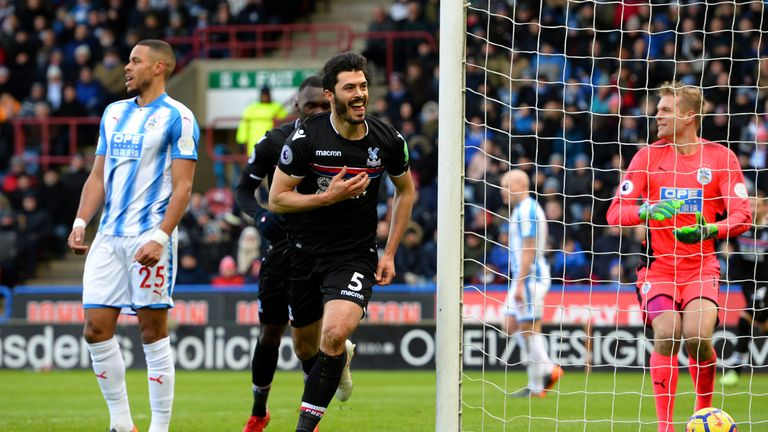 James Tomkins celebrates after putting Palace ahead