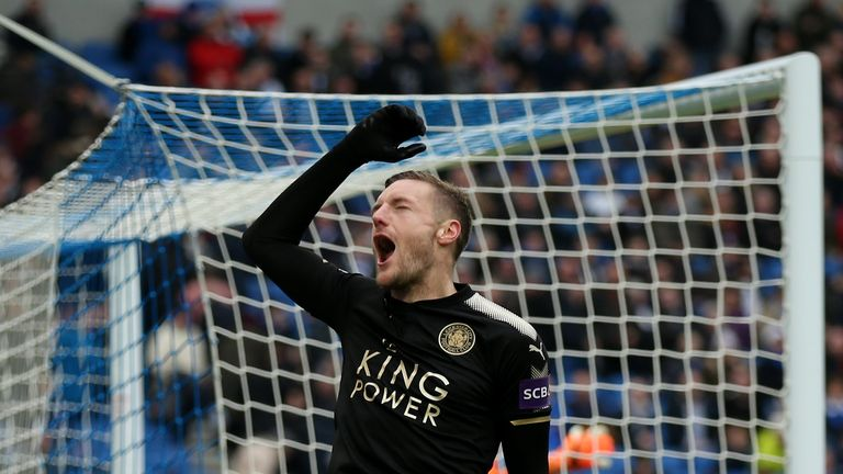 Jamie Vardy celebrates after making it 2-0 to Leicester