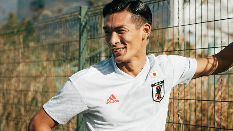 Makino Tomoaki models the new Japan World Cup 2018 away shirt (credit: adidasUK)