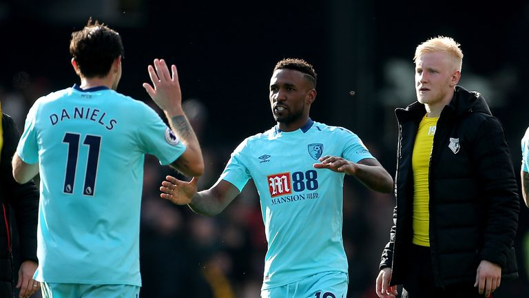 Bournemouth's Jermain Defoe scored in the second minute of injury time at Watford on Saturday