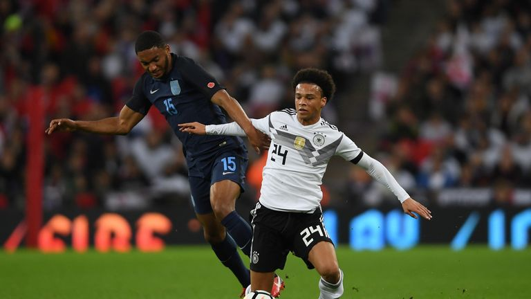 Joe Gomez came face to face with Germany's Leroy Sane on his debut