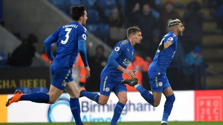 Mahrez celebrates after his late equaliser against Bournemouth last weekend