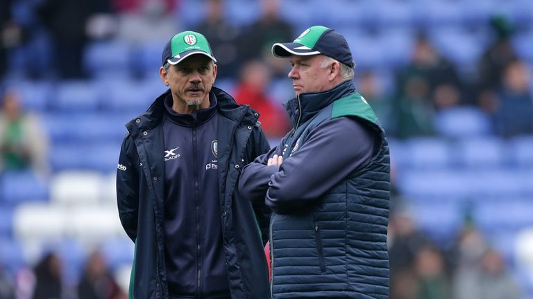 Kidney and head coach Les Kiss (left) will attempt to lead Irish back into the Premiership