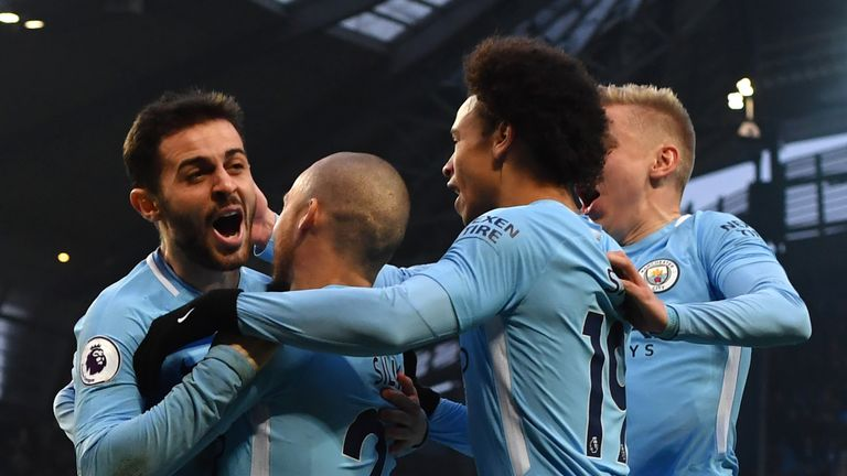 Bernardo Silva celebrates his opener for Manchester City against Chelsea