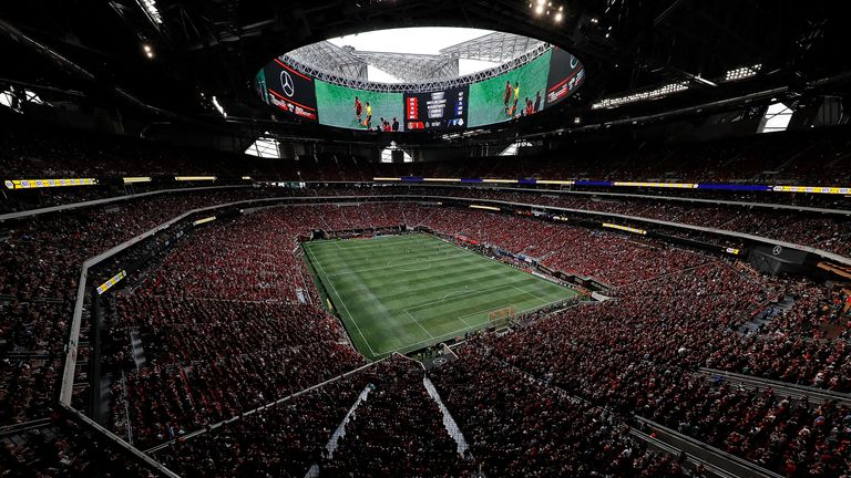 The packed Mercedes-Benz Arena in Atlanta that Walkes briefly called home