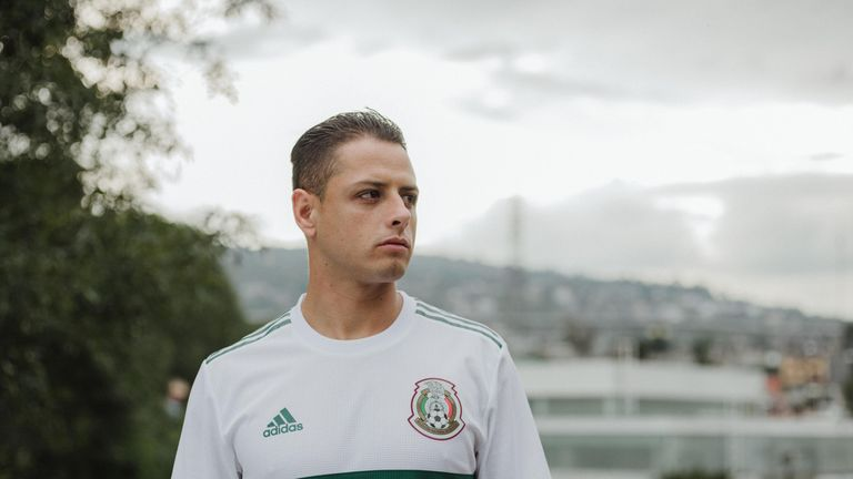 9e2b97c66 Javier Hernandez models the new Mexico World Cup 2018 away shirt (credit   adidasUK)