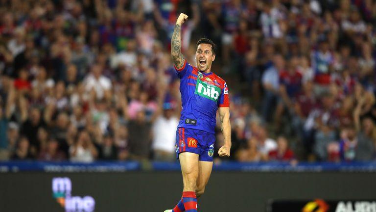 Mitchell Pearce celebrates his Golden Point drop-goal