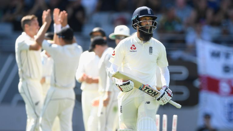 Moeen Ali walks off the field after being bowled by a Tim Southee full toss