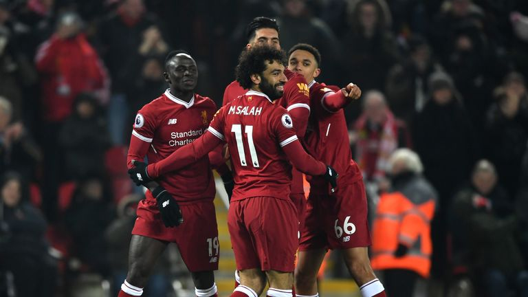 Sadio Mane is congratulated by team-mates after scoring Liverpool's second against Newcastle