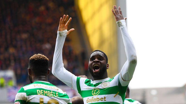 Odsonne Edouard celebrates after scoring Celtic's winner against Rangers