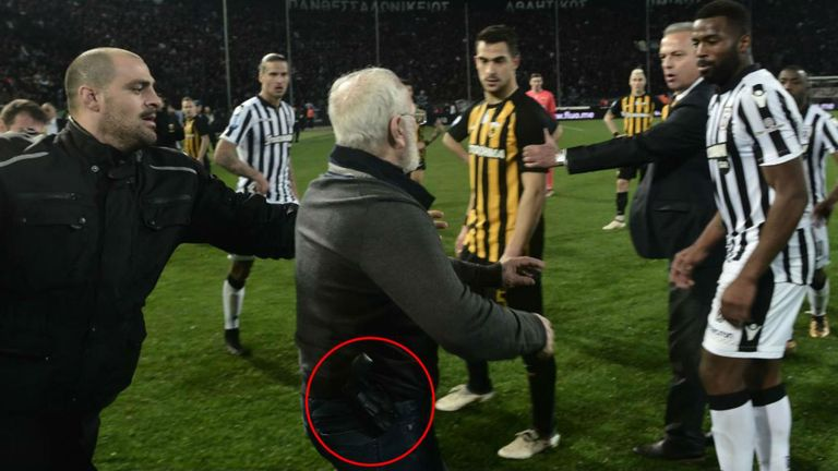 The incident led to PAOK being docked three points and fines for the clubs and Savvidis